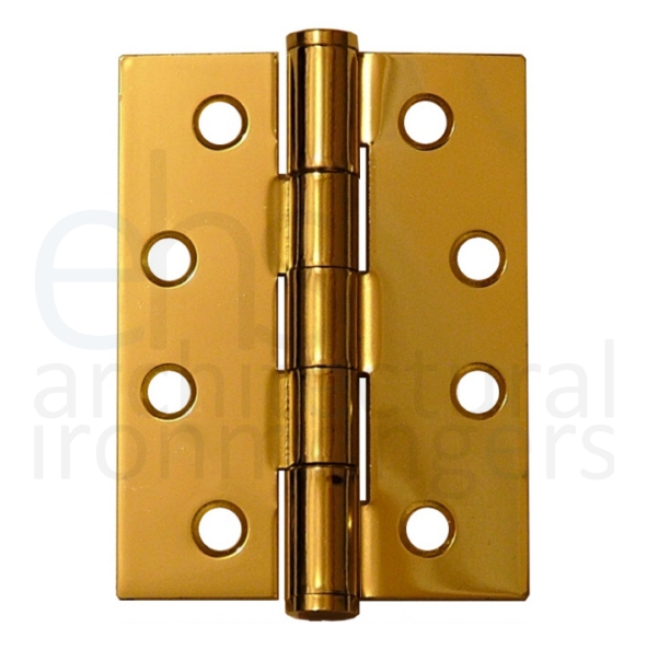 "2 x 100mm Butt Hinge Electro Brassed 4/"" Pair Of Hinges"