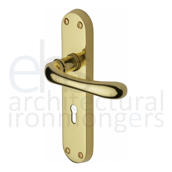 Luna Lever On Backplate Polished Brass